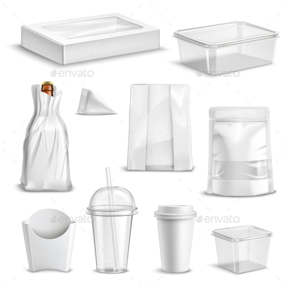 Food Packaging Blank Realistic Set - Food Objects