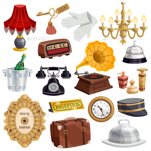 GraphicRiver Vintage Hotel Staff Icon Set 20862457
