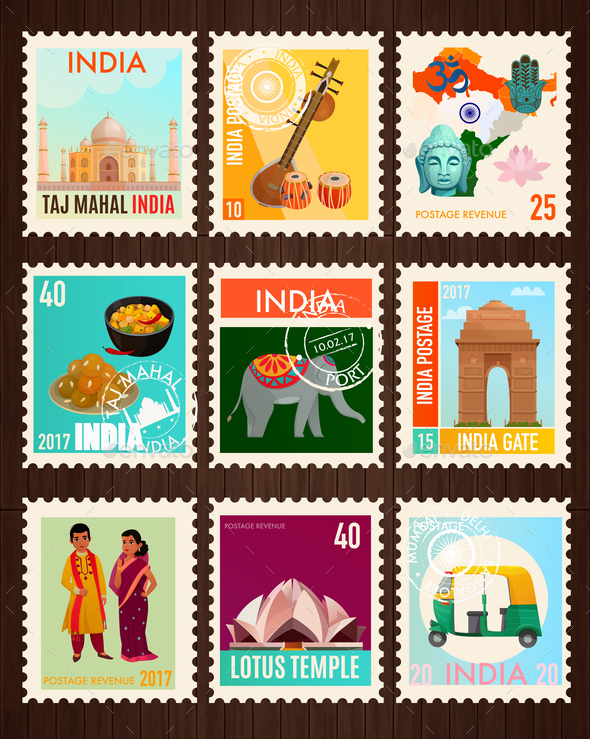 India Travel Stamp Cards - Miscellaneous Vectors