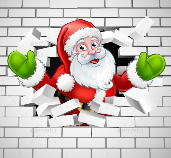 Santa Cartoon Breaking Through a Brick Wall - Christmas Seasons/Holidays