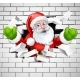 Santa Cartoon Breaking Through a Brick Wall