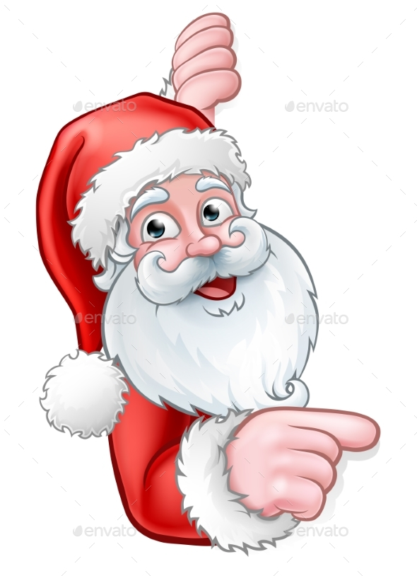 Santa Cartoon Pointing From Behind Sign - Christmas Seasons/Holidays