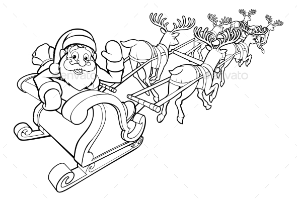 Santa and His Flying Sleigh and Reindeer - Christmas Seasons/Holidays