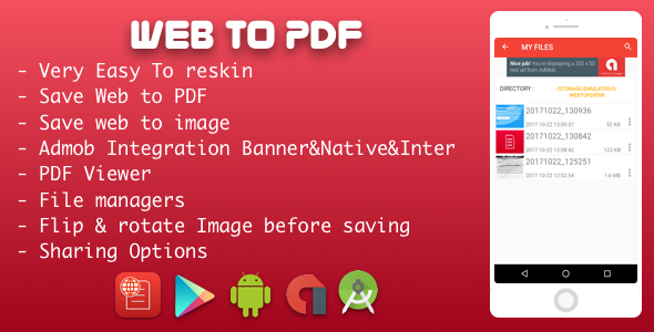CodeCanyon Web to PDF Converter With Admob Native 20862589
