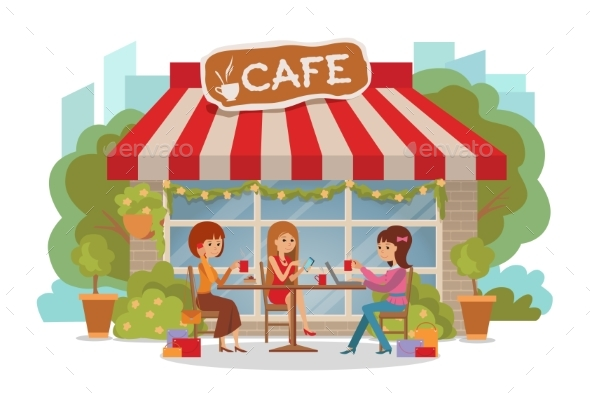 Three Women Talking at Coffee Shop - Technology Conceptual