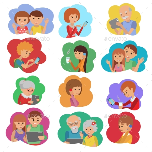 Vector Illustration Set of People Social Media - People Characters