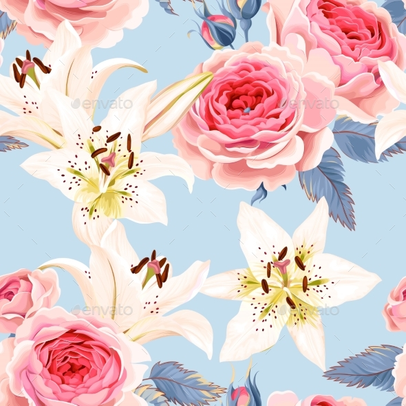Roses and Lilies Seamless - Backgrounds Decorative