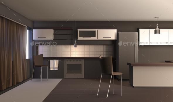 Studio Apartment Kitchen Design - Miscellaneous Vectors
