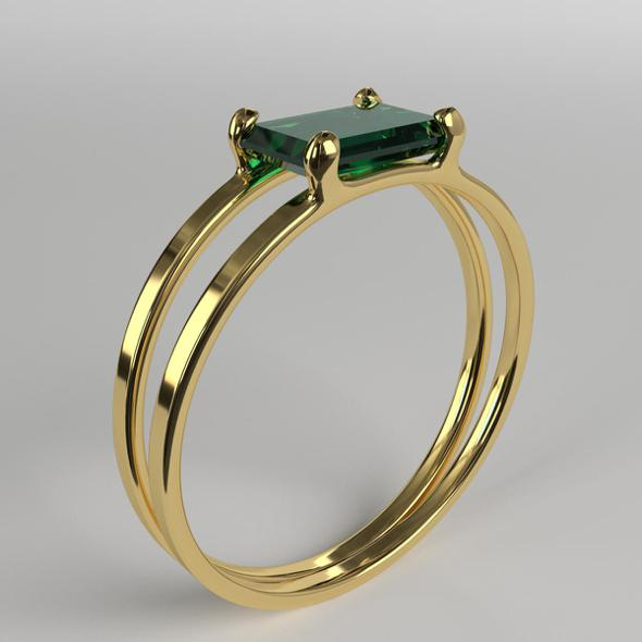 Emerald Double Ring - 3DOcean Item for Sale
