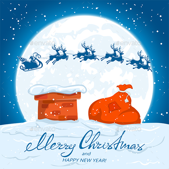 GraphicRiver Text Merry Christmas and Santa over the Roof 20862888