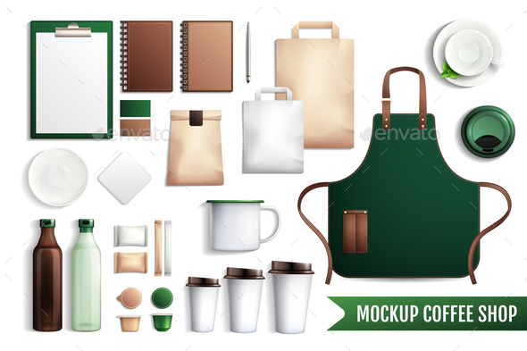 Coffee Shop Elements Mockup - Miscellaneous Vectors