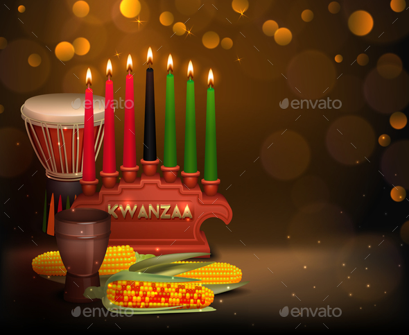 Kwanzaa Kinara Background Colorful Composition Poster - Food Objects