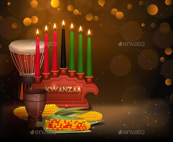 GraphicRiver Kwanzaa Kinara Background Colorful Composition Poster 20863010