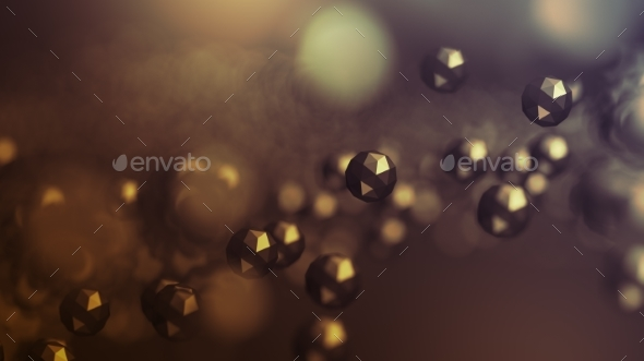 Abstract 3D Rendering of Flying Polygonal Spheres - Abstract 3D Renders