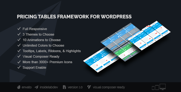 Pricing Tables Framework Visual Composer Addon for Wordpress - CodeCanyon Item for Sale