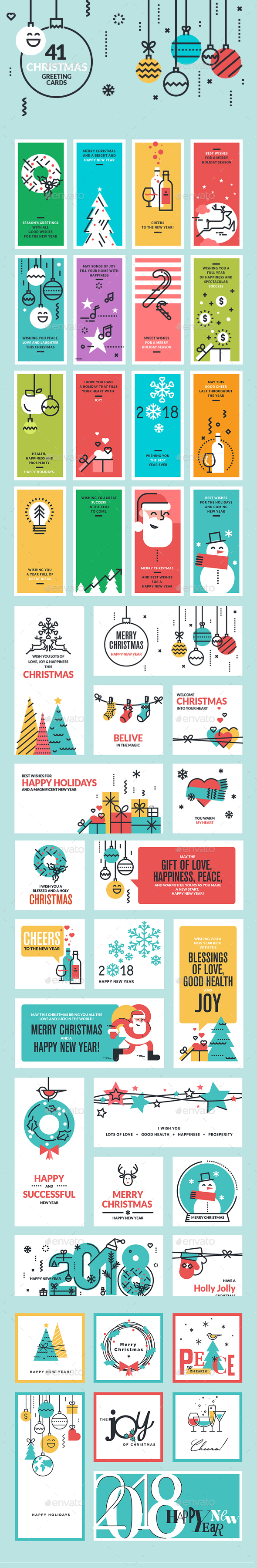 2018 Christmas and New Year Greeting Cards and Banners - Christmas Seasons/Holidays