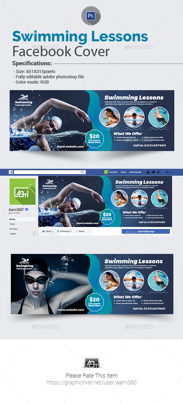 Swimming Lessons Facebook Cover Template - Facebook Timeline Covers Social Media