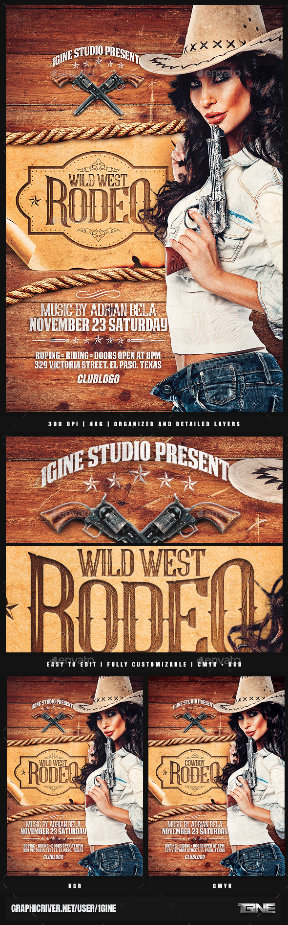 Rodeo Flyer Template - Clubs & Parties Events
