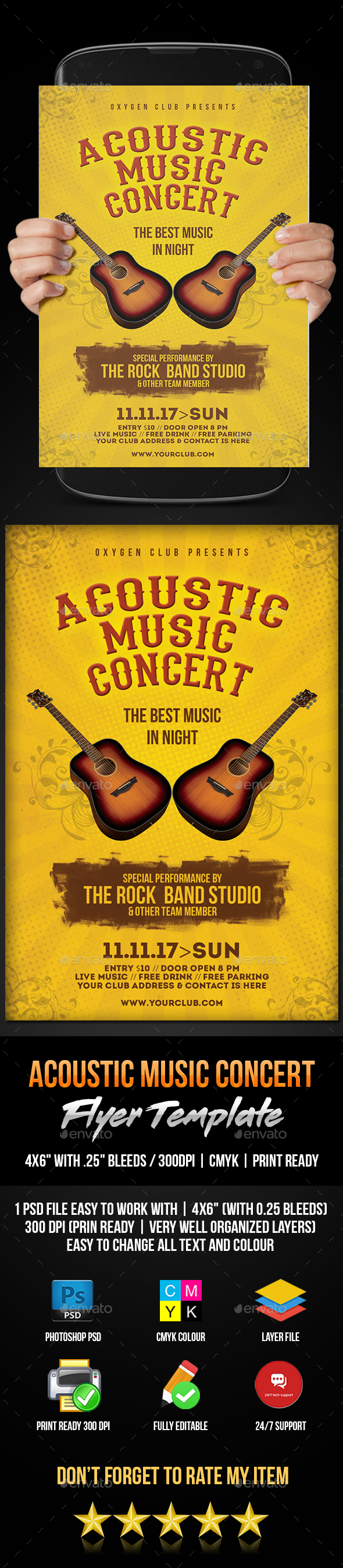 Acoustic Music Concert Flyer - Flyers Print Templates