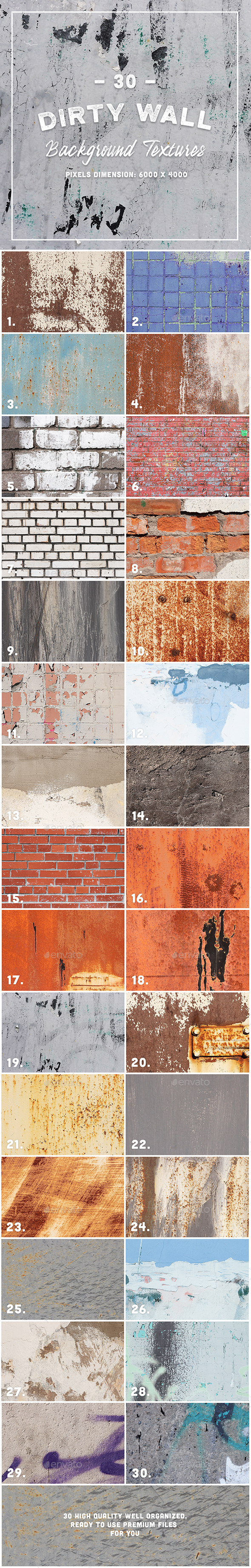 30 Dirty Wall Background Texture - Industrial / Grunge Textures