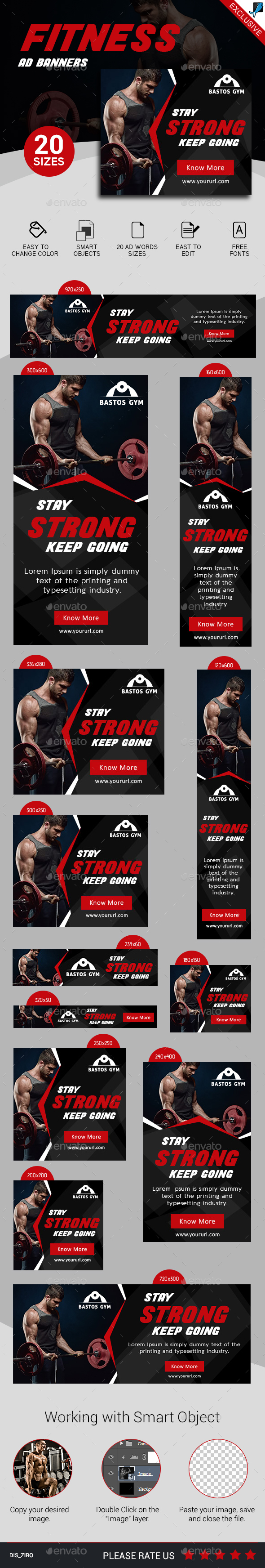 Fitness Ad Banners Set 3 - Banners & Ads Web Elements
