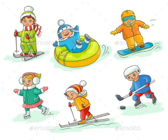 Hand Drawn Kids Children Doing Winter Activities - People Characters