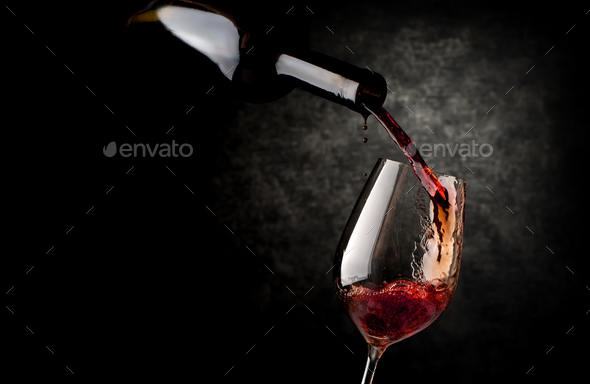 Wineglass on a black background - Stock Photo - Images