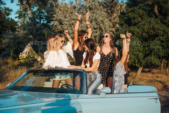 Five girls have fun in the countryside - Stock Photo - Images