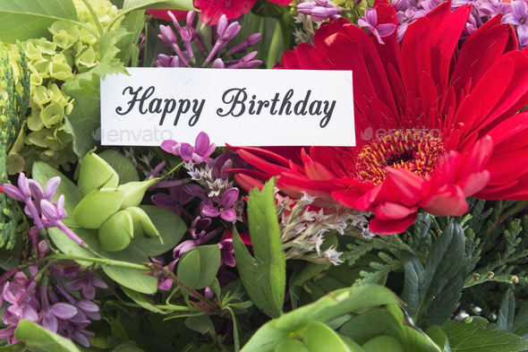 Happy Birthday Card withf Spring Flowers - Stock Photo - Images