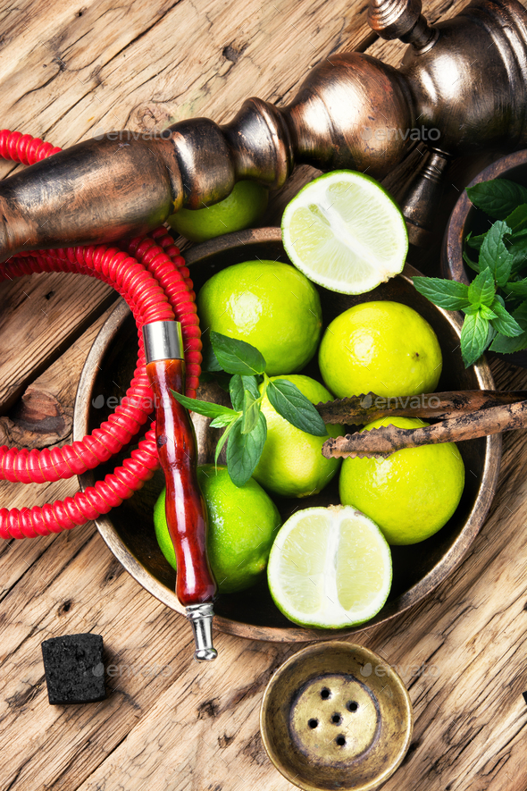 exotic nargile with lime - Stock Photo - Images