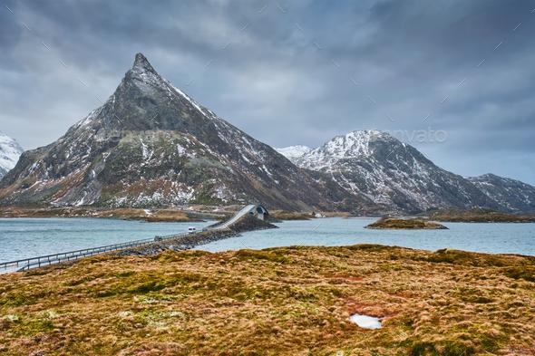 Fredvang Bridges. Lofoten islands, Norway - Stock Photo - Images