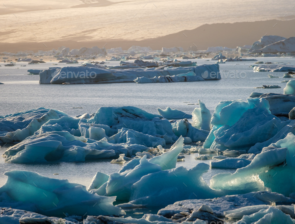 View of melting down glacier due to global warming - Stock Photo - Images