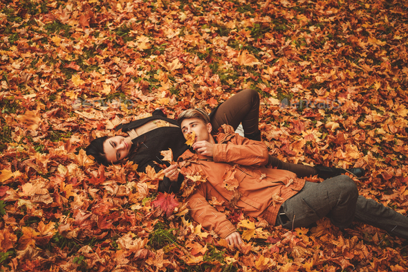 Lovely couple in autumn park - Stock Photo - Images