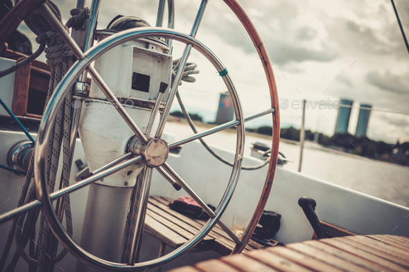 Steering wheel on a yacht - Stock Photo - Images
