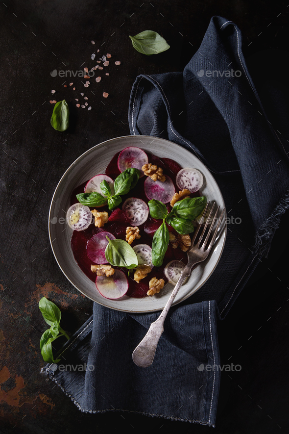 Beetroot carpaccio salad - Stock Photo - Images