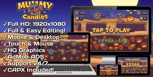 Mummy Candies - HTML5 Game 20 Levels + Mobile Version! (Construct 3 | Construct 2 | Capx) - CodeCanyon Item for Sale