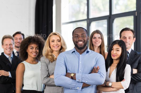 African American Businessman Boss With Group Of Business People In Creative Office, Successful Mix - Stock Photo - Images