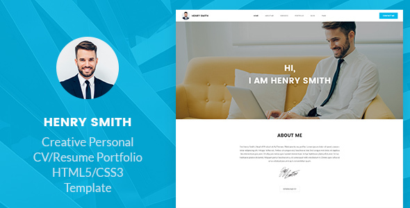 ThemeForest Henry Smith Creative Personal CV Resume Portfolio HTML5 Template 20864459