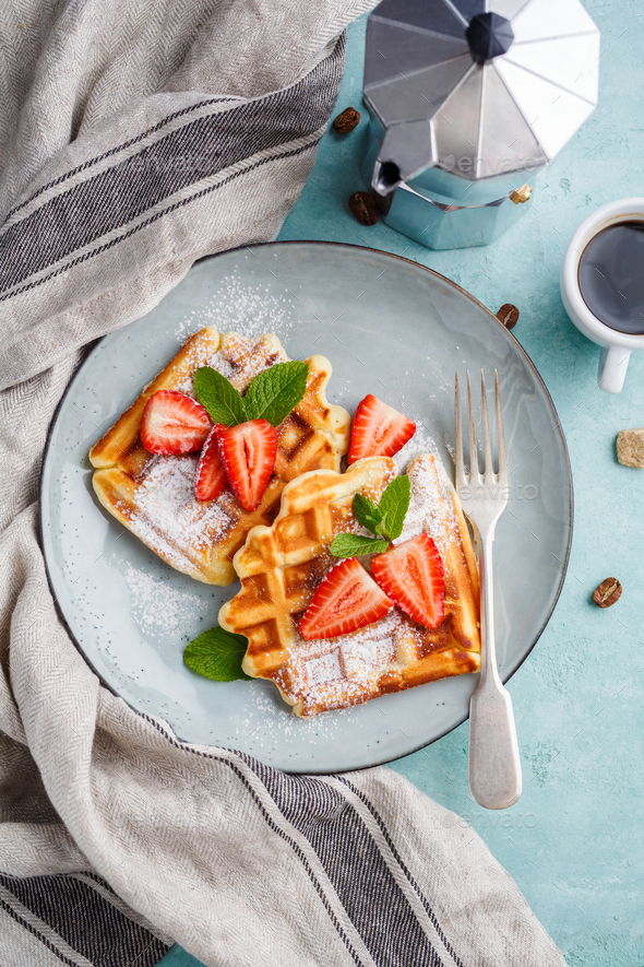 Homemade waffles  - Stock Photo - Images