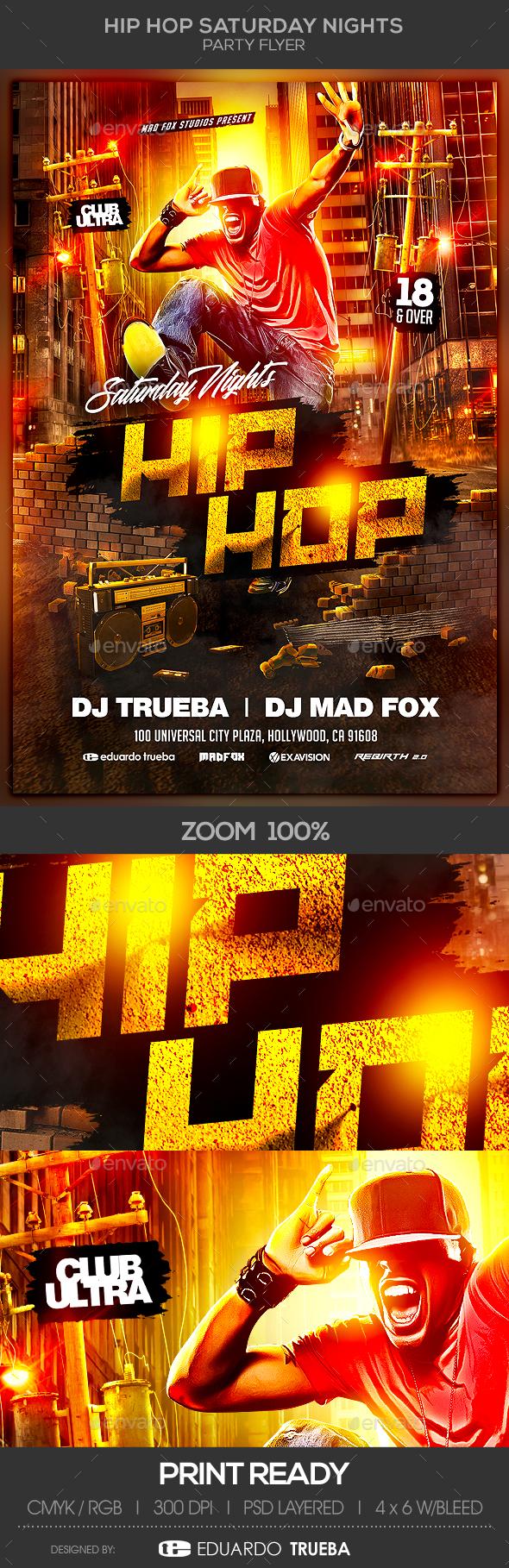GraphicRiver Hip Hop Saturday Nights Party Flyer 20864492