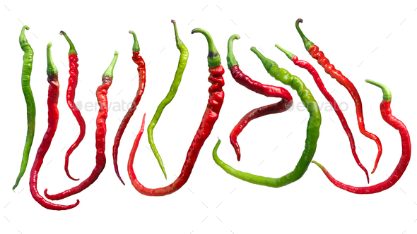 Bangalore whippet's tail chile peppers, paths - Stock Photo - Images