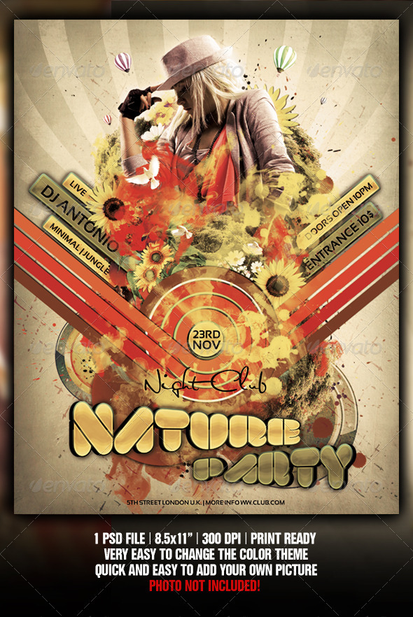 Retro Nature Party Flyer / Poster Template - Clubs & Parties Events