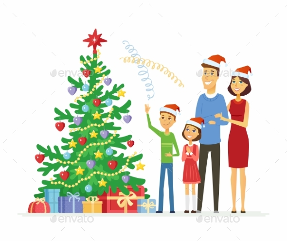 Happy Family Celebrates Christmas - Christmas Seasons/Holidays