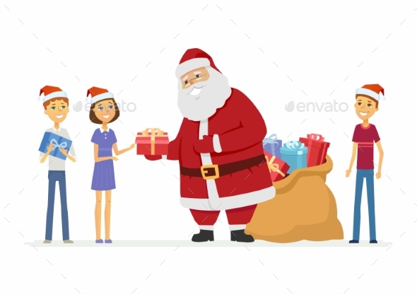 Santa Claus and Children - Christmas Seasons/Holidays