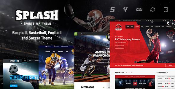 Splash - Sport WordPress Theme for Football, Soccer, Basketball, Baseball, Sport club
