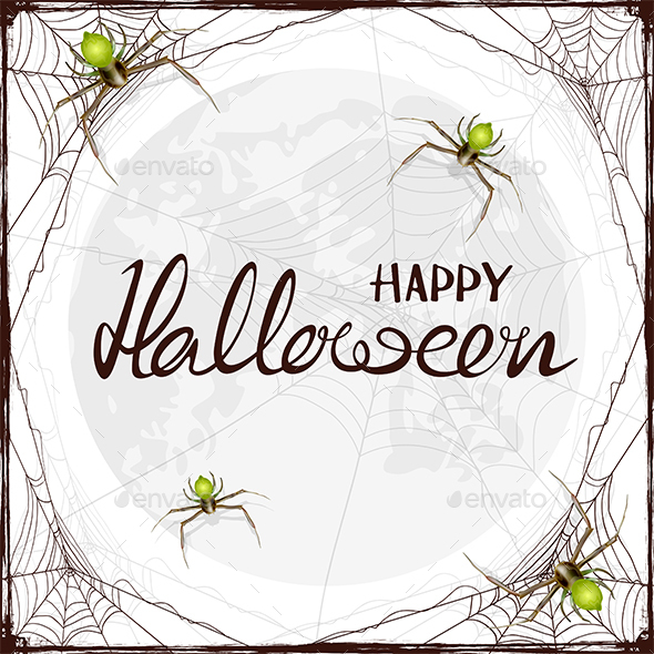 Text Happy Halloween in Cobweb with Spiders