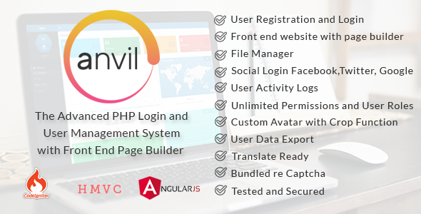 Anvil - Advanced PHP Login and User Management with Page Builder