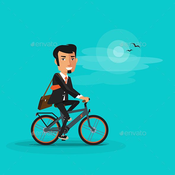 GraphicRiver Smiling Businessman Riding an Electric Bicycle 20865430