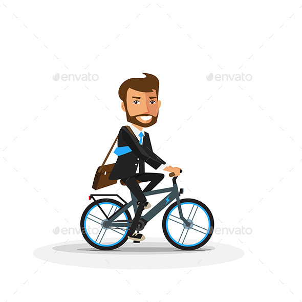 GraphicRiver Smiling Businessman Riding an Electric Bicycle 20865458