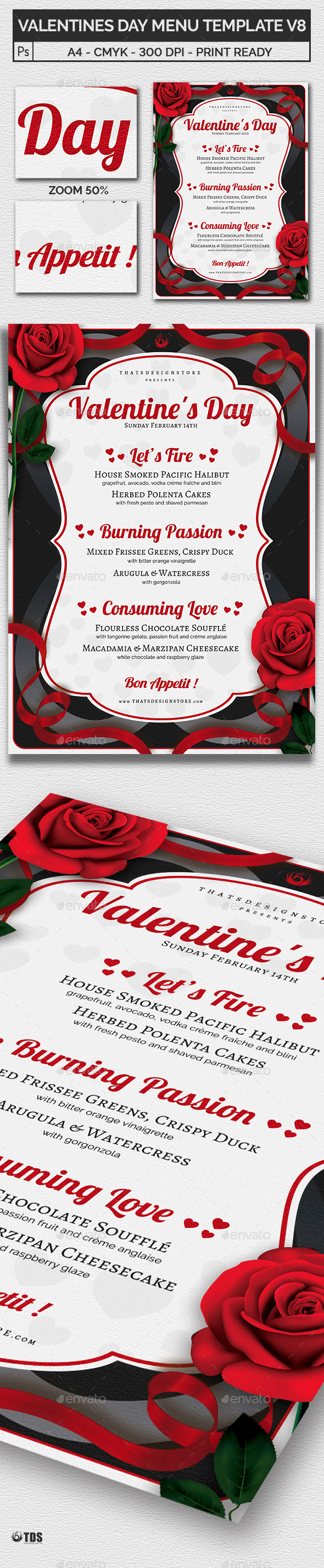 Valentines Day Menu Template V8 - Restaurant Flyers